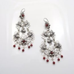 Silver Festive Mazahua Long Earrings