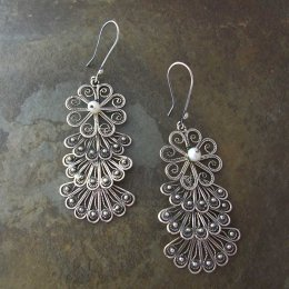 Filigree Potpurri Mexican Silver Earrings