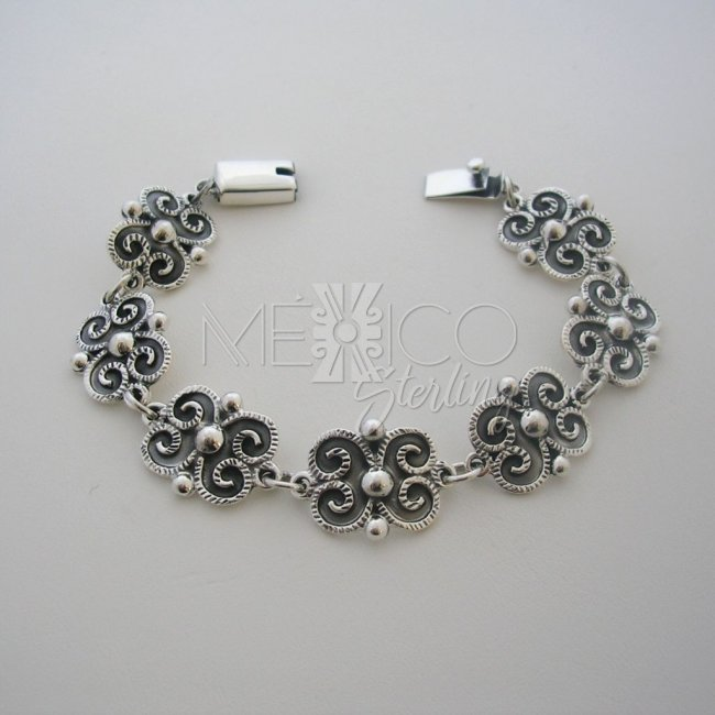 ac8224621ef Oxidized Silver Bracelet Beautiful Baroque Style [BR2883] - $72.00 : Mexico  Sterling Silver Jewelry, Proundly from Mexico to the world.
