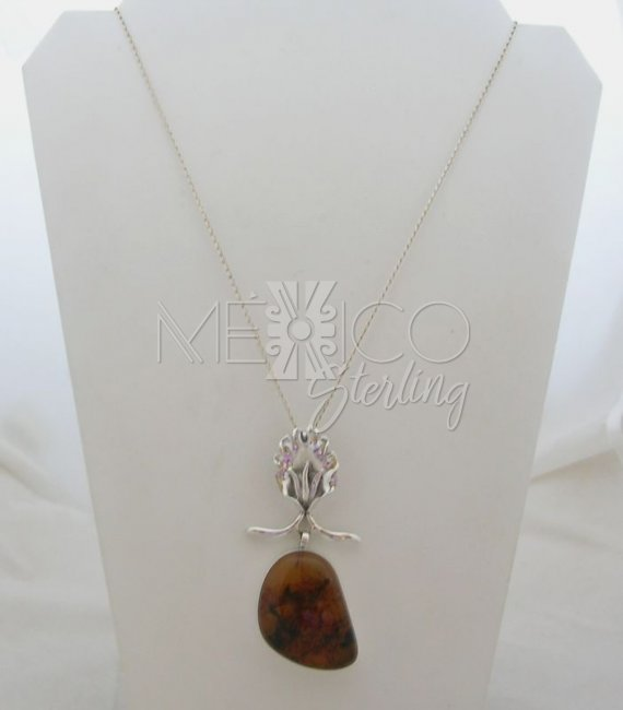 Stylized Amber and Taxco Sterling Silver Lilly Pendant