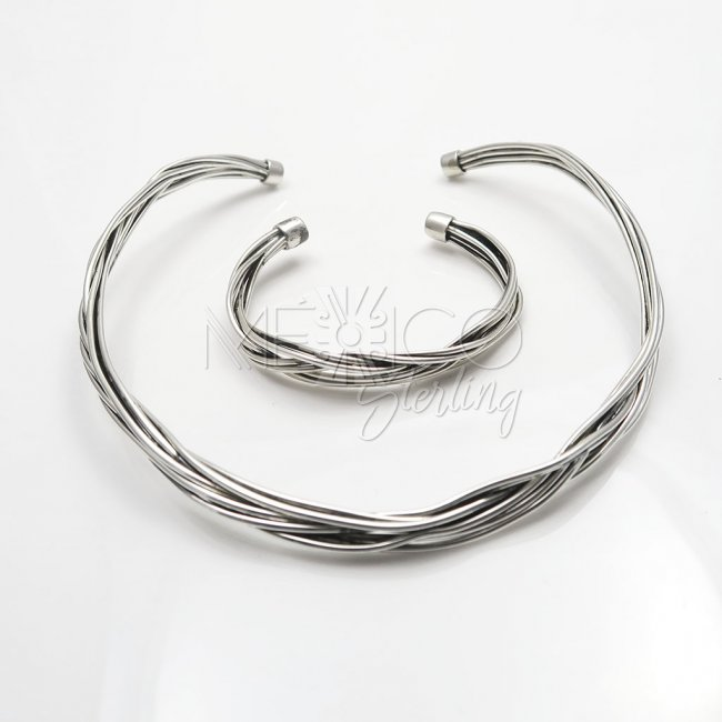 Silver twisted Chaos Thick Bracelet