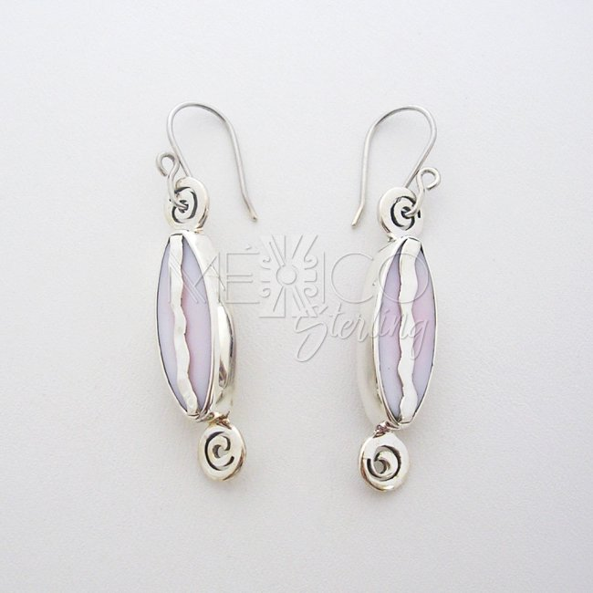Tribal Taxco Silver Baby Pink Dangle Earrings - Click Image to Close