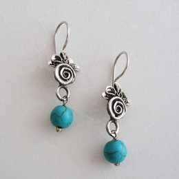 Mysterious Rose Taxco Silver Earrings
