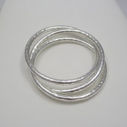 Triple Sterling Silver Hammered Bangle