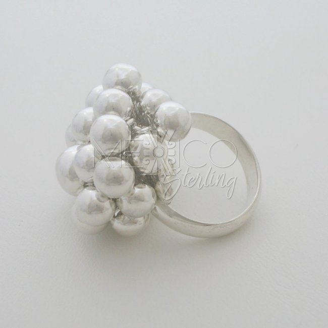 Adjustable Solid Sterling Silver Ring with Spheres
