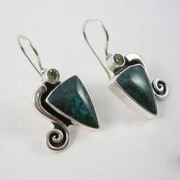Playfull Waves Silver and Stone Earrings