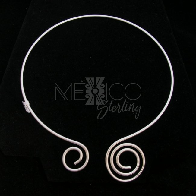 Mexican Silver Plated Choker with Swirls
