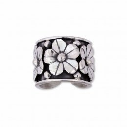 Silver Oxidized Ring Overlaid Daisies