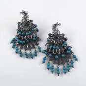 Elegant Silver Filigree Peacock Earrings