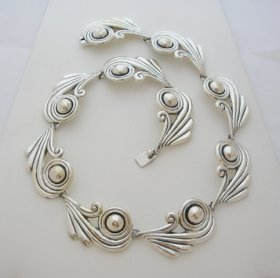 Margot de Taxco Molds Silver Swirls Necklace