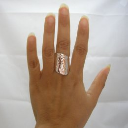 Modern Solid Silver Hammered Ring