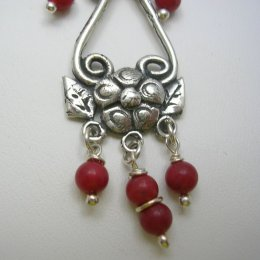 Silver Dangling Earrings Stone Beads