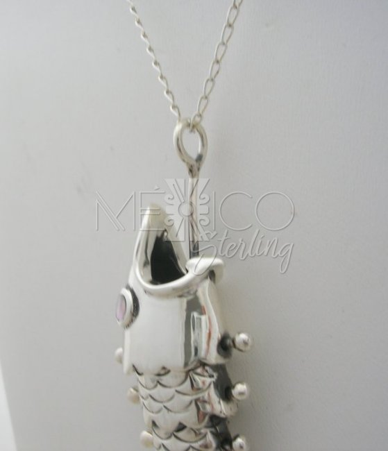 Handmade Silver Fish on the Hook Pendant