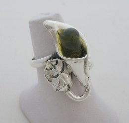 Mexican Calla Lily, Amber and Silver Ring