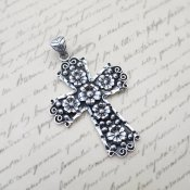 Vintage Style Taxco Silver Cross Pendant