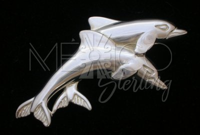 Handmade Taxco Sterling Silver Dolphins Pin-Brooch