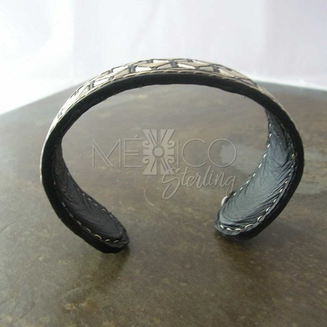 Cubism Dream Taxco Silver-Leather Cuff