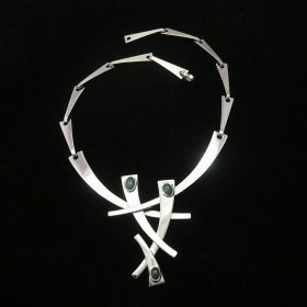 Silver Abstract Modern Art Necklace