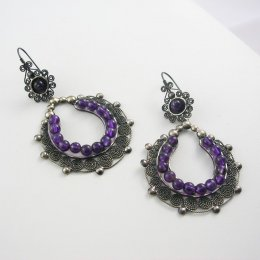 Sterling Silver and Amethyst Hoop Earrings