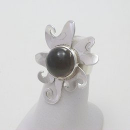 Adjustable Silver Ring with Smoked Quartz