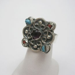 Adjustable Taxco Silver Ring with Stones