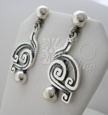 Ethnic Solid Sterling Silver Earrings