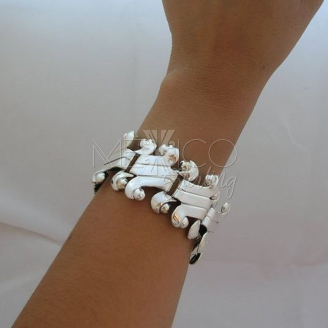 Mexican Sterling Silver Ethnic Borders Bracelet