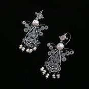 Silver Angels of Peace Filigree Earrings