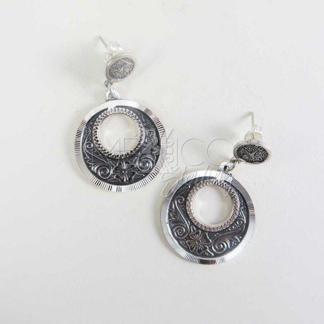 Mexican Silver Beauties Hoop Earrings