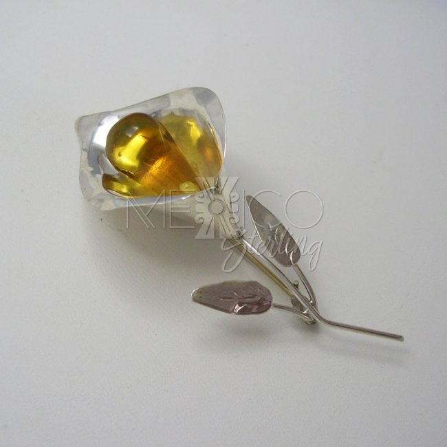 Delicate Taxco Silver and Amber Brooch