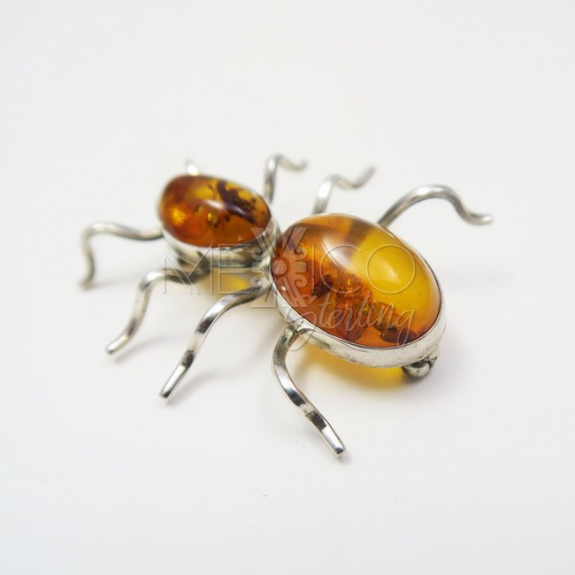 Silver and Amber Peaceful Spider Brooch