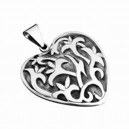 Oxidized Sterling Silver Pendant Heart Shape