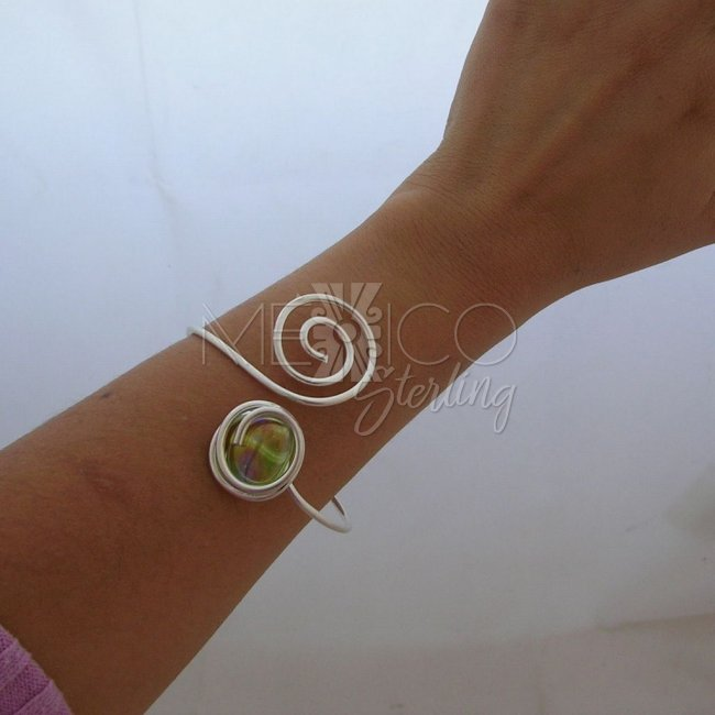 Silver Plated Bracelet with Glass