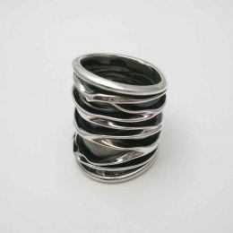 Long Taxco Oxidized Silver Ring