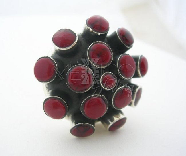 Unique Decorative Solid Sterling Silver Ring and Faux Gemstones