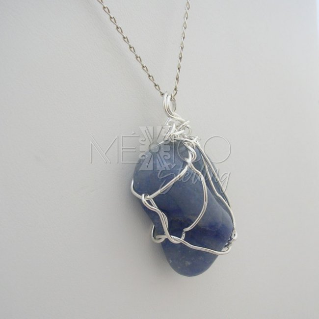 Silver Plated and Blue Quartz Pendant