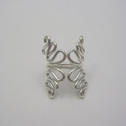 Mexican Silver Ring with Wavy Lines