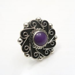Silver Purple Agate Playful Pinwheel Ring
