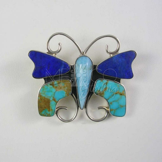 Happy Butterfly Mexican Silver Pendant-Brooch