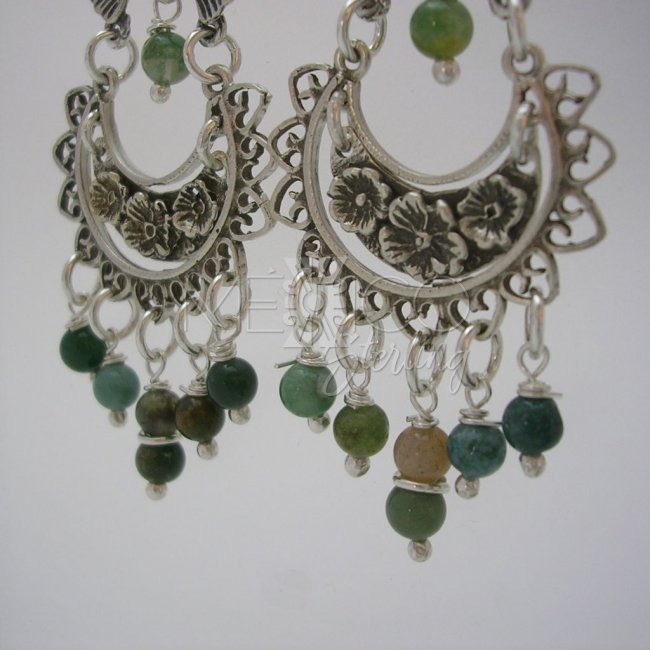 Taxco Silver Dangling Earrings With Stone