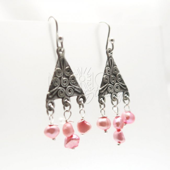 Taxco Silver Pyramids Dangle Earrings