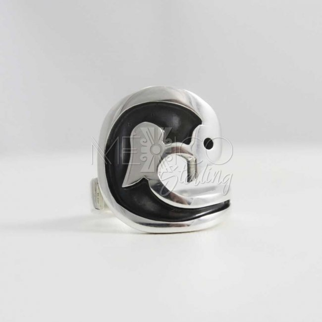 Playful Silver Dolphin Taxco Ring
