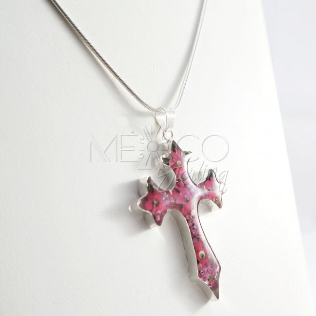 Colorful Silver and Flowers Cross