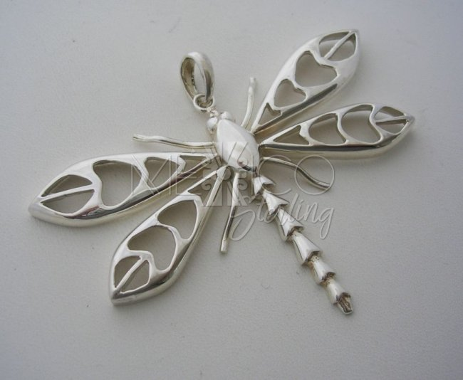 Taxco Sterling Silver Pendant, Large Dragonfly