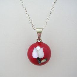 Taxco Silver Plated and Red Resin Pendant