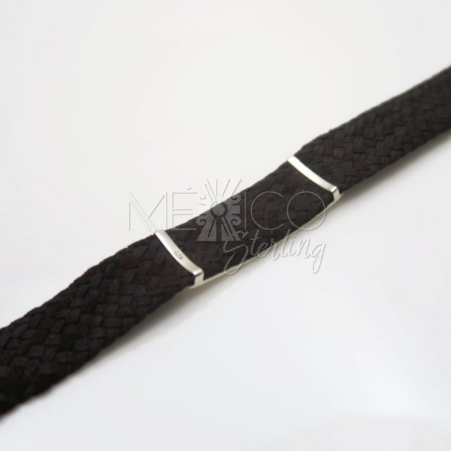 Unisex Silver Bull and leather Bracelet