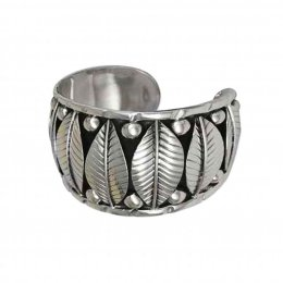 Wide Silver Bracelet Cuff with a Tribal Look
