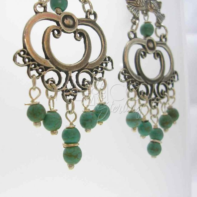 Taxco Silver Dangling Earrings Turquoise