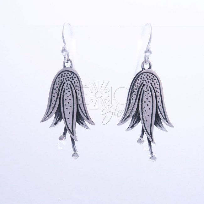 Designer Silver Swimming Lilies Earrings