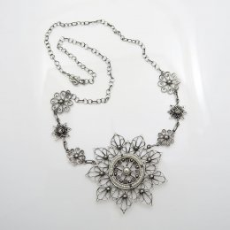 Silver and Pearls Night Mandala Necklace